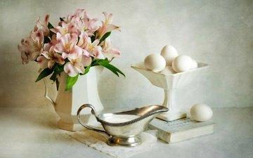 цветы, букет, яйца, натюрморт, сметана, альстромерия