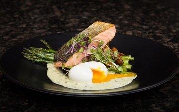 зелень, овощи, рыба, яйцо, салат, морепродукты, спаржа, лосось