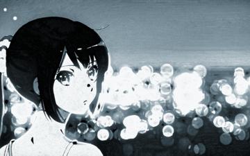 девушка, взгляд, чёрно-белое, аниме, волосы, звучи эуфониум