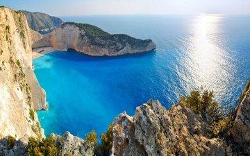 скалы, берег, море, пляж, побережье, океан, греция