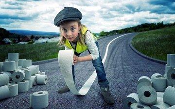 бумага, девочка, юмор, шоссе, и, приколы, рулоны, туалетная