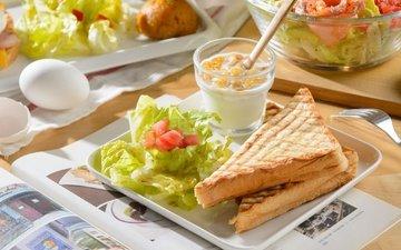 бутерброд, яйца, салат, тосты