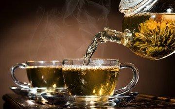 стекло, чай, чайник, чашки