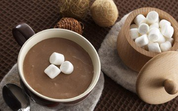 чашка, зефир, ложка, горячий шоколад, маршмеллоу
