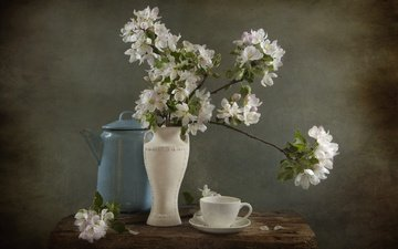 цветы, ветки, чашка, ваза, чай, чайник, яблоня, натюрморт