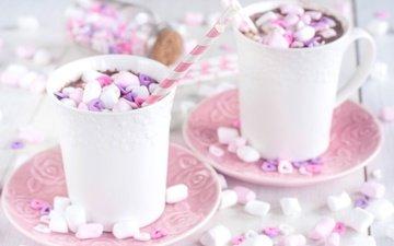 чашки, зефир, какао, горячий шоколад, маршмеллоу
