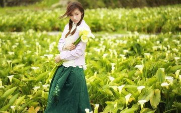 цветы, стиль, девушка, настроение, взгляд, азиатка, каллы, восточная девушка, brode十三