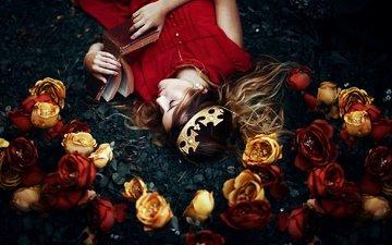 цветы, девушка, сон, корона, книга, ronny garcia, my wonderland