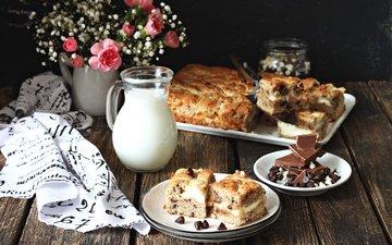 цветы, букет, шоколад, молоко, выпечка, пирог