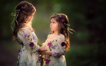 цветы, настроение, фон, дети, волосы, лицо, девочки, венки