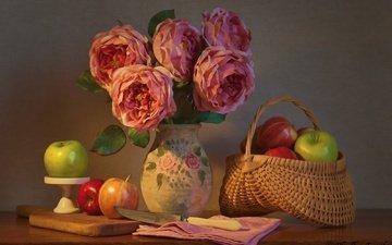 цветы, розы, фрукты, яблоки, букет, нож, корзинка, натюрморт