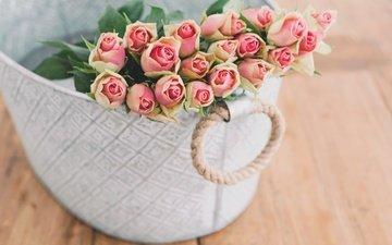 цветы, бутоны, розы, доски, коробка