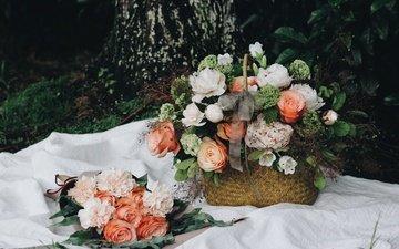 цветы, розы, корзина, пионы, композиция, букеты