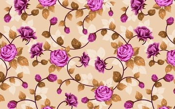 flowers, wallpaper, pattern, roses, weave