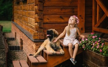 flowers, dog, girl, house, child, porch