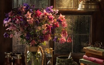 цветы, стиль, очки, лампа, книги, кружка, букет, окно, бинокль, песочные часы, аквилегия