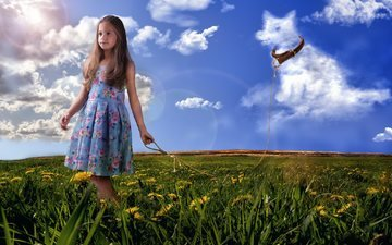 flowers, grass, clouds, nature, field, summer, dog, graphics, girl, dandelions, collar, rope, 3d