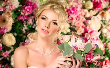 flowers, decoration, girl, background, blonde, bouquet, makeup, hairstyle, earrings, necklace