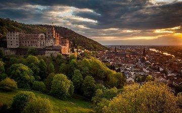trees, panorama, castle, germany, baden-württemberg, heidelberg, heidelberg castle, neckar river, the neckar river