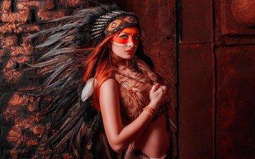 girl, feathers, costume, blue-eyed, headdress, paint, indian