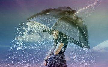 девушка, молния, ситуация, дождь, зонт