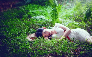 трава, девушка, настроение, сон, азиатка