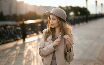 девушка, платье, города, мост, модель, волосы, лицо, шляпа, куртка, ожерелье, анастасия кротова
