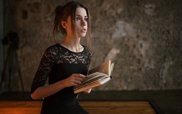 girl, dress, table, model, room, book, beautiful, xenia kokoreva, kseniya kokoreva, sergey fat