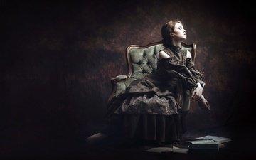девушка, фон, платье, поза, профиль, кресло, sandra plajzer