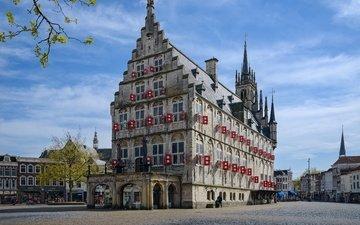 дома, улица, здание, площадь, мостовая, нидерланды, голландия, ратуша, гауда