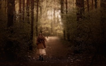 road, forest, girl, hair, walk