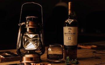 фонарь, стакан, бутылка, алкоголь, виски