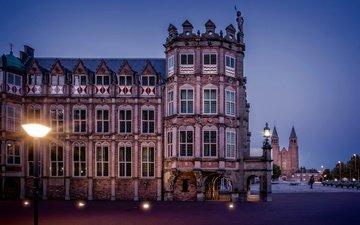 фонари, огни, вечер, архитектура, дворец, площадь, фонтаны, нидерланды, арнем, guelders, дом дьявола