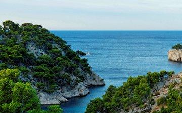 деревья, скалы, природа, камни, берег, море, горизонт, побережье, яхта, франция, прованс, calanque, port miou