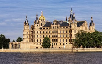 озеро, замок, архитектура, германия, шверинский замок