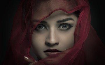 eyes, girl, portrait, look, face, veil, indian