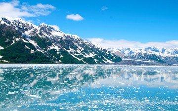 вода, горы, снег, природа, берег, зима, отражение, пейзаж, лёд, ледник, аляска, на, голубое небо, балтийское море, моря