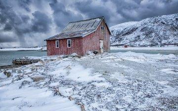 горы, снег, берег, дом