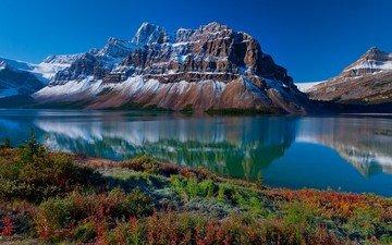 небо, трава, озеро, горы, природа, отражение, пейзаж, воды, голубой, в