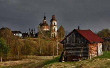 trees, temple, russia, church, bath, kostroma province