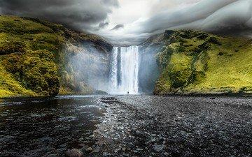 водопад, исландия, скоугафосс, водопад скоугафосс