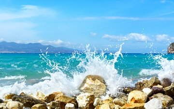 камни, берег, волны, море, пляж, водопад, волна, песка, штат пенсильвания, каскад, морской пейзаж, океана, ricketts glen state park