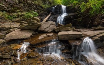 камни, водопад, штат пенсильвания, каскад, ricketts glen state park