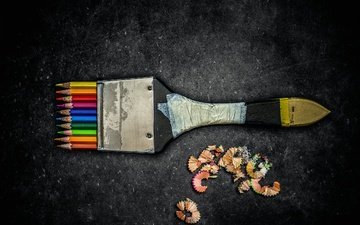 разноцветные, карандаши, кисть, стружка, цветные карандаши, creative edit