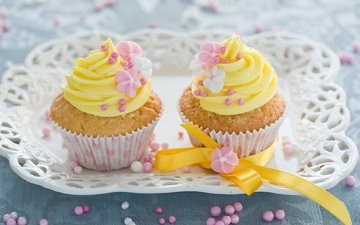 flowers, decoration, cakes, cupcakes, cupcake, cream
