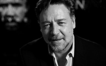 black and white, face, actor, russell crowe
