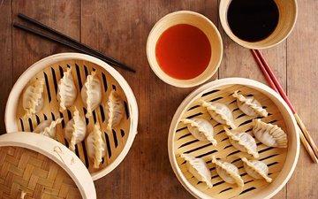 китай, палочки, соус, начинка, тесто, пельмени, китайская кухня, китайские пельмени