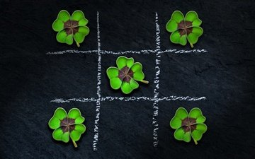 clover, the game, leaves, noughts and crosses