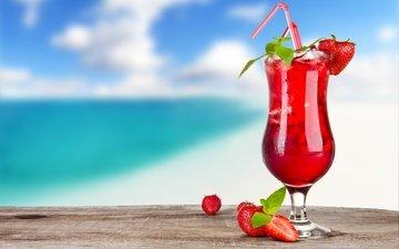 клубника, бокал, ягоды, коктейль, трубочка