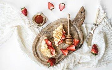 клубника, джем, ягоды, завтрак, выпечка, круассан, круассаны
